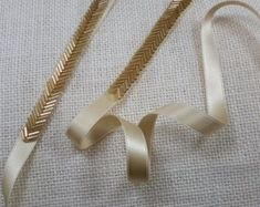 ~ Living a Beautiful Life ~ Gold bugle beads are used to create a delicate chevron style trim. The gold color is striking and will set off your dress to perfection!Bridal Belt Skinny Gold Belt Thin Gold Bridal Sash Gold - Life with AlydaBridal Drees Tambour Embroidery, Couture Embroidery, Embroidery Fashion, Ribbon Embroidery, Embroidery Patterns, Tambour Beading, Embroidery Dress, Embroidery Stitches, Bridesmaid Belt