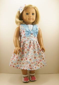 Fits American Girl Doll - Other 18 Inch Dolls - Sleeveless Dress Dogwoods Blossoms and Dots and Hair Bow