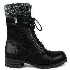 Black flat lace-up combat ankle-boots with  knit trim cuff design #cutesyoriginals