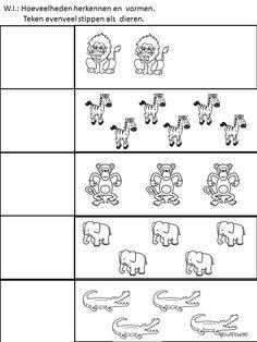 Thema dierentuin - W.I. - Werkblaadje: Teken evenveel stippen als dieren Color Worksheets For Preschool, Preschool Kindergarten, Math Worksheets, Class Activities, Toddler Learning, Coloring For Kids, Games For Kids, Kids And Parenting, Blog