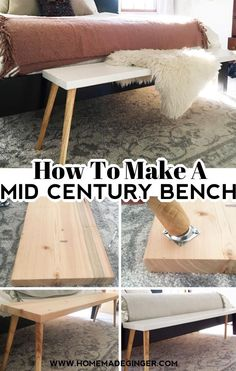 his project is quick and easy to do. It's simple to make a mid century modern bench with just a handful of supplies. Anyone with a little bit of DIY experience can make a beautiful Mid Century Bench for their home in an afternoon! This bench took about 30 minutes to put together and cost less than $40.  #homemadegingerblog #midcenturybench #DIYbench