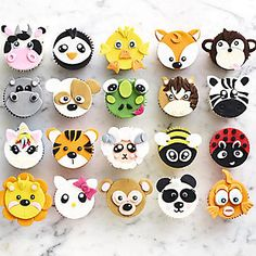FMM Mix n Match Animal Face Icing Cutter alt image 9 Cupcake Tier, Cupcake Cake Designs, Cupcake Day, Kid Cupcakes, Animal Cupcakes, Fondant Cupcake Toppers, Fondant Icing, Cupcake Cakes, Zoo Animal Cakes