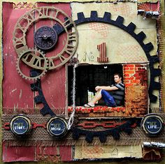 """Scraps of Darkness Artist Kits - layout created by Renea Harrison with the August """"Rustic"""" kit.  www.scrapsofdarkness.com"""