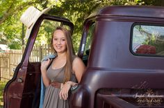 Country girl with an old truck.