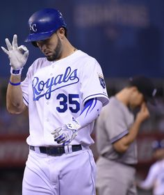 Eric Hosmer Photos - Eric Hosmer of the Kansas City Royals celebrates a single in the fifth inning against the New York Yankees at Kauffman Stadium on May 2015 in Kansas City, Missouri. - New York Yankees v Kansas City Royals Kc Royals Baseball, Baseball Guys, Baseball Uniforms, Baseball Socks, Eric Hosmer, Sports Mix, Buster Posey, Oakland Athletics, Kansas City Royals