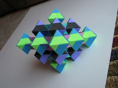 Tomoko Fuse Unit Origami Dual Triangles 4-unit Green Blue Purple Green Blue Black stage 2 - 1 by Stephen's Origami, via Flickr