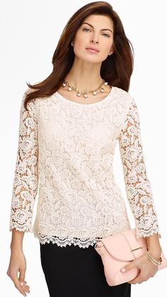 Talbots - Rose Lace Blouse Blouses and Shirts Petites Blouse Styles, Blouse Designs, Neutral Blouses, Chic Outfits, Fashion Outfits, Looks Plus Size, Rose Lace, Lace Tops, Lace Blouses