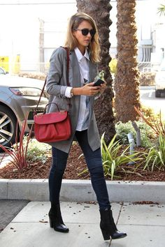 Jessica Alba wearing House of Harlow 1960 Emily Sunglasses, Christian Louboutin Dompteuse Messenger in Red and Rachel Zoe Kane Boots.