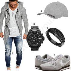Lässiger Herren-Style mit grauem Zip-Hoodie, Flexfit Mütze, Nike Sneakern, blauer Leif Nelson Jeans mit coolen Effekten, schwarzer Diesel Uhr und Lederarmband.