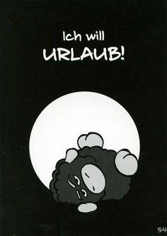 Olaf das Grummelschaf und Poppy Postkarte mit lustigen Sprüchen - Ich will Urlaub! Postkarten Lustige Sprüche