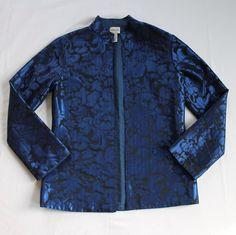 Chicos Brocade Blazer Jacket Sz 0 4/6 Blue Black Floral Open Front #Chicos #Blazer