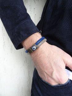 Men's Evil Eye Bracelet Snake Skin Leather and Bronze | Etsy Thick Leather, Braided Leather, Evil Eye Bracelet, Bracelets For Men, Snake Skin, Bronze, Beige, Pantone 2020, Etsy