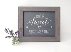 Love is Sweet Please Take a Treat Sign, Dessert & Candy Bar Sign, Chalkboard or Rustic Kraft Style
