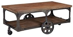 Ashley Vennilux Factory Cart Coffee Table in Gray and Brown