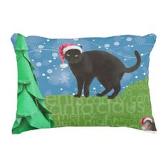 Cat and Mouse Christmas pillow, black cat Accent Pillow