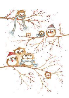 Uitgeverij Ikko nieuwjaarsbrief illustratie An Melis Christmas Owls, Christmas Drawing, Christmas Paintings, Christmas Pictures, Winter Christmas, Vintage Christmas, Christmas Crafts, Christmas Ornaments, Illustration Noel