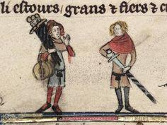 """Swords, bucklers – anybody?"" A marginal illustration from MS. Bodl. 264, fol.114, c. 1340."