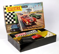 Scalextric set '60' slot car racing toy, United Kingdom, 1964, by Minimodels.  From the Victoria and Albert Museum of Childhood's permanent collection.