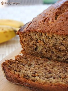 Banana Bread ~ Moist and delicious classic banana bread recipe.  Easy to make, no need for a mixer! Ripe bananas, butter, sugar, egg, vanilla, baking soda, and flour. ~ SimplyRecipes.com