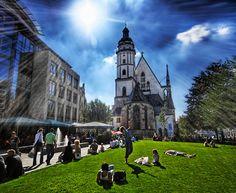 Leipzig - Thomaskirche beim schönen Wetter
