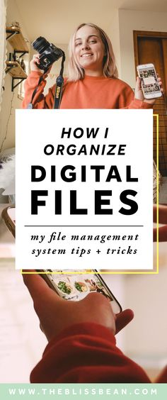 How I Organize My Digital Files File Management System Tips Tricks The Bliss Bean How I organize digital files Digital organization Organization tips and tricks How. File Management System, Money Management, Productivity Management, Folder Organization, Business Organization, Tips And Tricks, Ac2, Photo Storage, Wellness