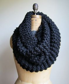 Super Snuggly chunky knit Black cowl. Infinity by Happiknits, $79.00