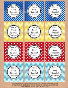 """""""For a Very Special Teacher"""" Tags/Sticker Labels/Cupcake Toppers...whatever you like.  DIY Printables to print at home as many times as needed! Teacher Appreciation Stickers Tags Labels by sunshinetulipdesign, $6.00"""