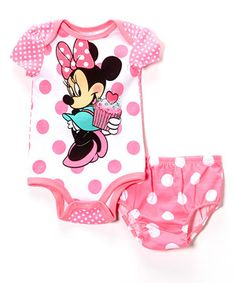 Look what I found on #zulily! Pink Polka Dot Minnie Mouse Bodysuit & Diaper Cover - Infant by Bentex #zulilyfinds