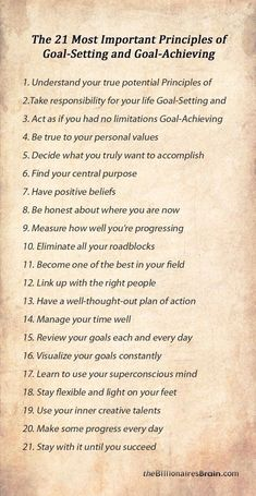 The 21 Most Important Principles of Goal-Setting and Goal-Achieving Self Development, Personal Development, Life Skills, Life Lessons, Goal Setting Life, Goal Settings, Personal Values, Personal Goals, Success Principles