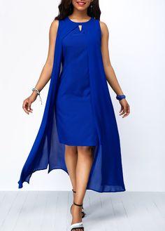 Long Maxi Dresses Royal Blue Overlay Keyhole Neckline Chiffon Dress Source by cingilayla Blue Chiffon Dresses, Royal Blue Dresses, Royal Blue Outfits, Party Dress Sale, Club Party Dresses, Tight Dresses, Sexy Dresses, Casual Dresses, Cheap Dresses