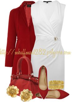 """White, Red and Gold"" by mhuffman1282 ❤ liked on Polyvore"