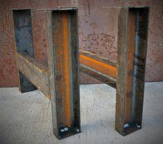 Industrial Metal Table Legs set of 2 channel by SteelImpression Steel Table Legs, Metal Dining Table, Wood Table, Dining Room, Industrial Metal Table Legs, Industrial Furniture, Mesa Metal, Wood And Metal, Metal Beam