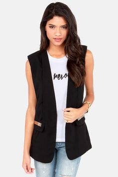 Vest to Impress Black Vest at LuLus.com! #lulus #holidaywear