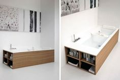 A bathtub with built in bookshelves - Brilliant! Bath Surround, Floating Nightstand, Double Vanity, Interior Inspiration, Bookshelves, Bathing, Architecture, Building, House