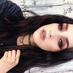 grunge makeup// nude lips + winged eyeliner and smokey eye pinterest: @mallgothica