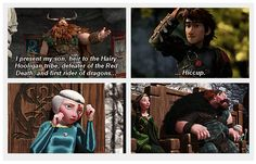 Merida and family meet Hiccup and Stoick. Hahaha! I love their expressions! Completely appropriate and understandable!!! lol XD