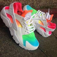 Tie Dye Neon 'Rainbow Summer* Nike Air Huarache customs unisex.