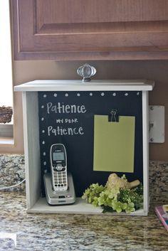 chalkboard message area in a drawer