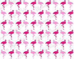 Flamingo Pink - White Background - Digital Scrapbooking Paper - Cardmaking - Scrapbook Download Images - Decoupage - Collage Sheet - 1092 on Etsy, $1.30