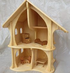 Handmade wooden dollhouse / Natural Wooden Dollhouse by Sukhanov