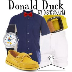 A fashion look from August 2012 featuring Sperry loafers и Disney watches. Browse and shop related looks. Donald Duck Kostüm, Donald Duck Party, Estilo Disney, Disney Themed Outfits, Disney Bound Outfits, Disney Dapper Day, Disney Inspired Fashion, Disney Fashion, Hallowen Costume