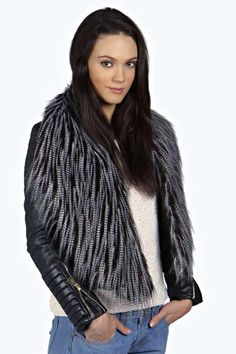 Maisie Faux Ostrich Fur Collar at boohoo.com