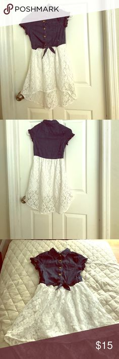 Guess dress Ruffled sleeve cuffs.cute denim jacket. Floral laced skirt attached. Mini pocket and gold buttons. Tied knot near skirt. Guess Dresses Formal
