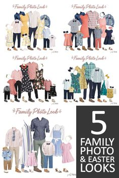 What to Wear for Family Pictures - 5 different color options!You can find Family picture outfits and more on our website.What to Wear for Family Pictures - 5 different color. Fall Family Picture Outfits, Spring Family Pictures, Family Portrait Outfits, Family Picture Colors, Family Photos What To Wear, Winter Family Photos, Large Family Photos, Colors For Family Pictures, Family Picture Clothes