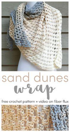 Crochet scarves 393713192423399044 - Sand Dunes Wrap, Free Crochet Pattern + Video on Fiber Flux Source by Crochet Prayer Shawls, Crochet Shawls And Wraps, Crochet Scarves, Crochet Clothes, Crochet Hooks, Knit Crochet, Crochet Vests, Crochet Cape, Crochet Shirt