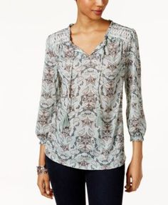 Style & Co Printed Embroidered Top, Only at Macy's