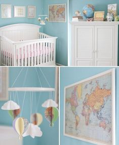 Travel Airy colors, a world map, and a cloud and hot air balloon mobile make the travel and adventure theme of this nursery clear.via On To Baby 50 Beautiful Blue Nurseries - mom.me