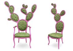 Valentina Gonzales blends two iconographic elements: the classical French Louis XV oval chair originated in Rococo period and the Nopal cactus