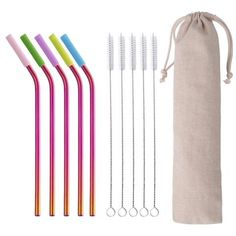 Reusable Metal Stainless Steel Drinking Straw With Silicone Tips Clean Brush Bag For Metal Straws, Stainless Steel Straws, Metal Models, Bar Accessories, House Party, Customized Gifts, Clothes Hanger, Drinking, Cleaning