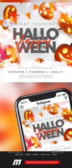 Halloween Flyer by MaksN | GraphicRiver Halloween Flyer, Halloween Vector, Flyer Size, Font Names, Flyer Template, Pumpkin, Templates, Party, Dark Fashion